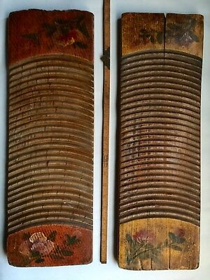 Lot of 2 Antique Primitive 19th C Carved Wooden Hand Painted Washboards Folk Art