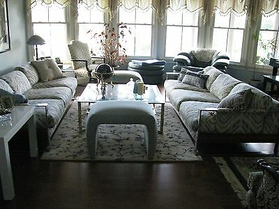 1972 Mid Century RARE MILO BAUGHMAN wide band chrome Sofa with Walnut side panel