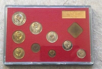 1974 CCCP Proof Set of Coins of the USSR Leningrad Mint Russia 9 Coins