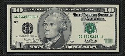"2001 (G7) $10 Federal Reserve Note  [UNC.] ""FW"" SN#: CG 13352934 A"