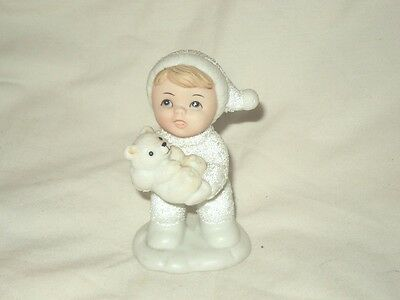 Homco Snow Kids Baby With Polar Bear Cub Figurine Winter Christmas 5501