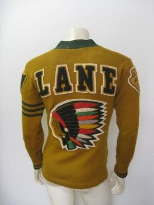 Vintage 1965 LANE TECH High Varsity Letterman Sweater With Patches Size 38