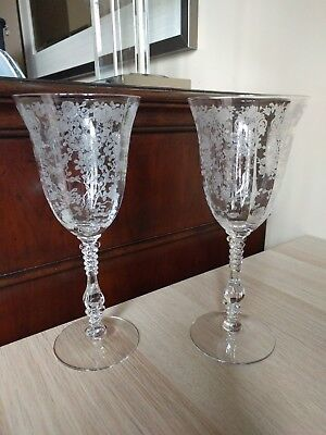Set of 4 Cambridge Rose Point Clear etched crystal Water Goblets (or wine) 3121