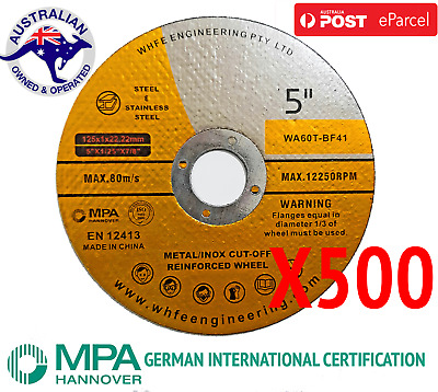 X 500 of 125mm Cutting Discs Wheel Thin Angle Grinder Cut Off Metal Steel Flap