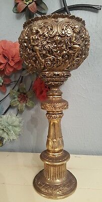 Antique Brass Bronze Ornate Cherubs Angels Urn Planter