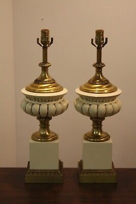 Vintage Pair Frederick Cooper Hollywood Regency Table Lamps Labeled Cream Brass