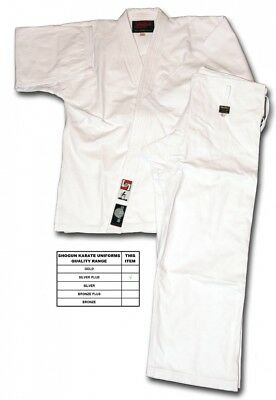 (155) - Shogun white karate uniform/suit/gi, Silver Plus quality. Best Price