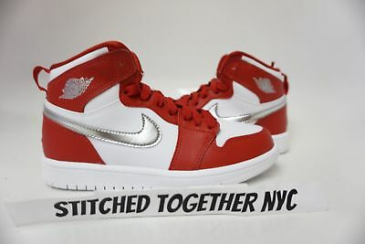 (705303-602) Ps Kid's Air Jordan 1 Retro High Gym Red/metallic Silver/white