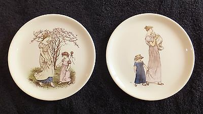Antique Almanack- Kate Greenaway  2   Plates Lithograph Hand Colored Euc