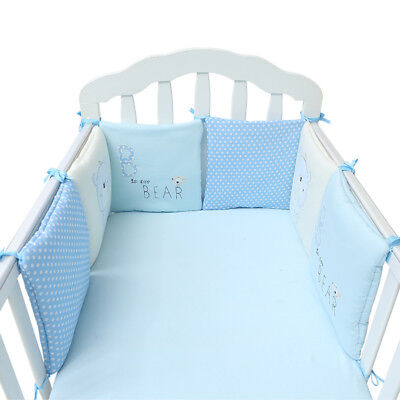 6Pc A Set Baby Bed Bumpers Cotton Plush Safety Infant Toddler Nursery Beding