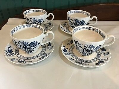 Set Of 4 J&g Meakin Classic Blue Nordic Onion Ironstone Cups And Saucers (Englan