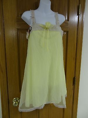 Vintage Aristocraft Yellow Chiffon Double Layer Baby Doll Gown NEW w/Tags! Sz 36