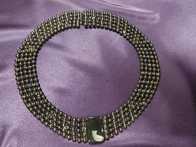 Beautiful Antique Multi Strand Beaded Onyx Choker Alloy Necklace !Very Old!