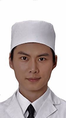 6Pcs White Color Mesh Top Sushi Chef Hat Size:L
