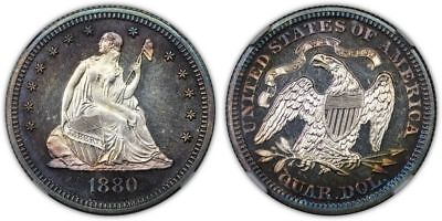 1880 Seated 25c.  NGC graded Proof-64 Cameo. Peripheral Toning, hint of Rainbow
