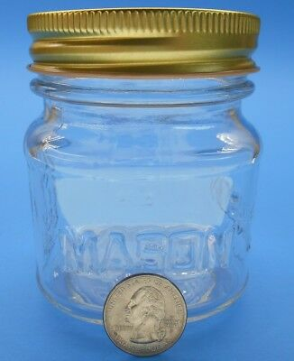 240ml Square Mason Glass Jar with Gold Finished Safety Button Lids- Regular