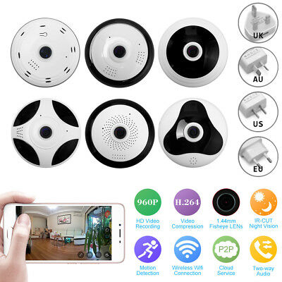 Wireless HD FishEye IP WiFi Panoramic Camera 960P 360 Degree W/ SD Card Slot lot