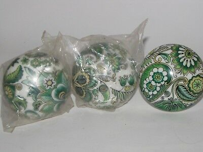 3 Vintage Milk Glass Door Knob Made In France green flowers