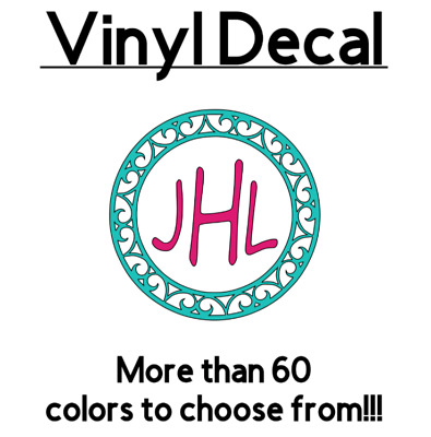 Personalized Monogram 3 Vinyl Decal Sticker Circle Frame Initials Cup Tumbler