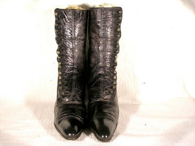 Vintage Edwardian Era Black Leather High Button Boots Us 7 1/2N