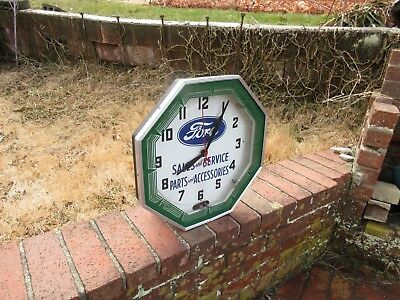 Rare Vintage Ford Sales & Service Neon Advertising Clock Neon Products Lima OH