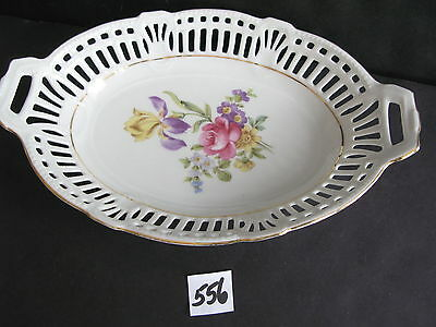 """Reticulated Porcelain 9 1/2 x 6 1/4"""" Bowl, HP Flowers. U.S. Zone Germany"""