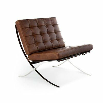 Barcelona Pavilion Genuine TOP Grain Italian Leather Lounge VINTAGE BROWN Chair