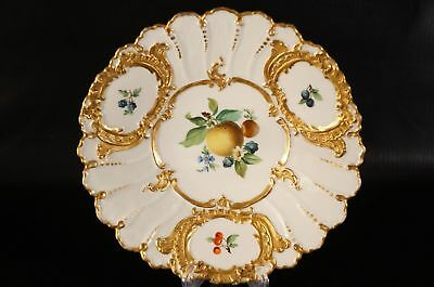 Antique MEISSEN Plate Heavily Gilt Fruit Hand Painted Porcelain 19 century.
