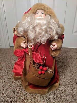 """Old World Santa. Tree Topper. 18""""Tall  Wearing Red Felted Coat"""