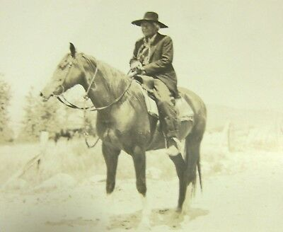 Vintage Azo Rppc Old Native American Indian Hat On Horse Real Photo Postcard