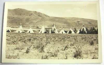 Vintage Azo Rppc Native American Indian Reservation Tepees Real Photo Postcard