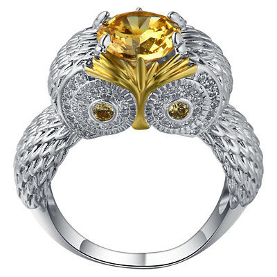 Women Fashion Yellow Topaz 925 Sterling Silver Filled Strigiformes Owl Ring R38