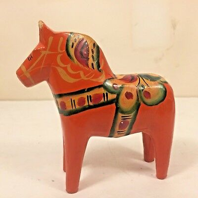 "Vtg Carved Swedish DALA Horse Wooden Folk Art ORANGE Hand Painted 4"" Nils Olsson"