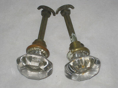 Set Of 2 Vtg Nice Antique 8 Point Glass Door Knob & Closet Thumb Latch