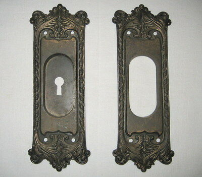 2 Ornate Cast Iron Victorian Pocket Door Pull Plates