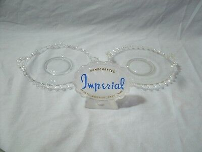 Lenox Usa Made Imperial Candlewick 2 Small Plates With Handl Clear Beaded Glass