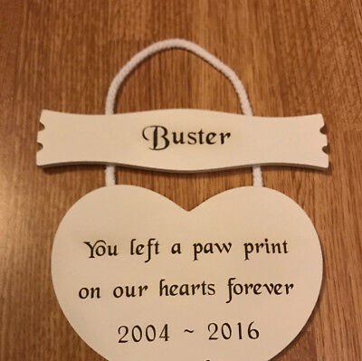 Pet Memorial Personalised Engraved Wood Hanging White Heart Plaque Cat Dog Pets