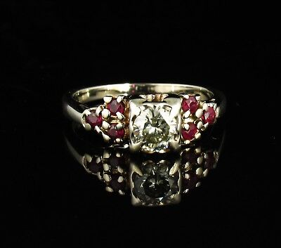 ART DECO VINTAGE ESTATE NATURAL 3/4ctw BURMESE RUBY AND DIAMOND 14K GOLD RING