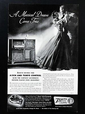 1951 Vintage Print Ad ZENITH Record Player Couple Dancing Image 50's Mid Century