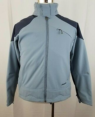 PATAGONIA Men's Soft Shell Snow Zip Up Jacket Gray Blue Size M Polyester Nylon