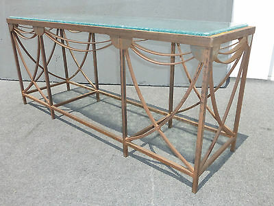 Vintage DESIGNER Wrought Iron Industrial Entry Console SIDE TABLE  Etched Glass