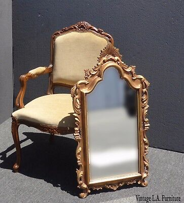 Vintage French Provincial Style Gold Gilt Scrolls & Flourishes Wall Mirror