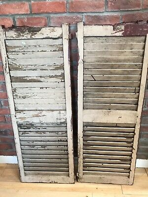 Vintage Pair of Cream/Maroon Wooden Shutters