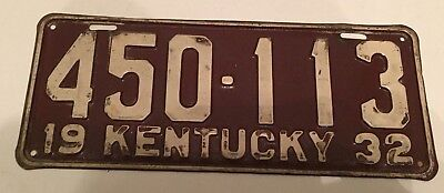 1932 Kentucky License Plate