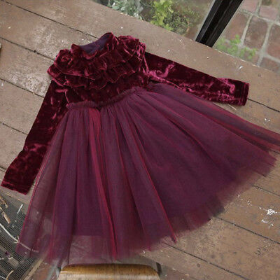 Kids Baby Girls Dress Velvet Fleece Princess Party Dress Lace Tulle Dress 1-6Y