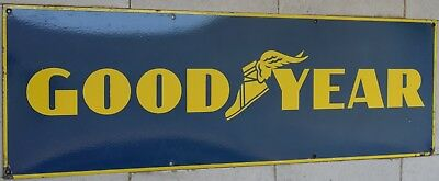 VINTAGE Collectible Old Good Year Tire  Porcelain Enamel Sign Board 12 x 36 Inch