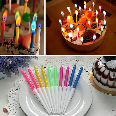 12 Pcs Relighting Colorful Birthday Party Cake Candles with Colored Flames