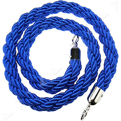 New Queue Divider Crowd Control Stanchion Blue Twisted Barrier 1.5M Rope