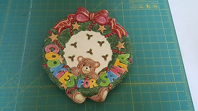 """Fitz & Floyd """"Cookies for Santa"""" plate with bear and wreath"""