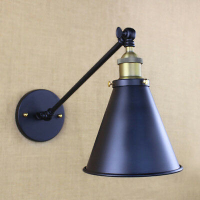 Industrial Vintage Single Sconce Wall Light Fixture with Cone Shade in Pewter